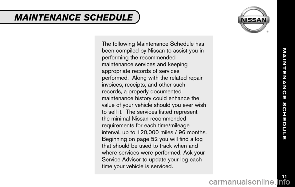 NISSAN SENTRA 2010 B17 / 7.G Service And Maintenance Guide, Page 13