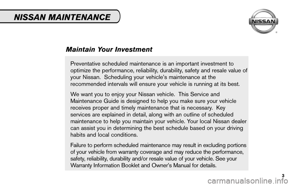 NISSAN SENTRA 2010 B17 / 7.G Service And Maintenance Guide, Page 5