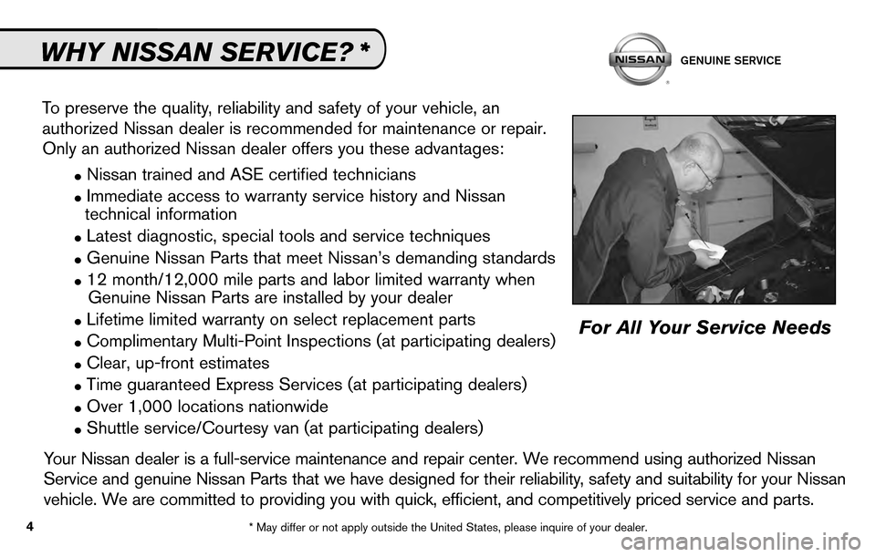 NISSAN SENTRA 2010 B17 / 7.G Service And Maintenance Guide, Page 6
