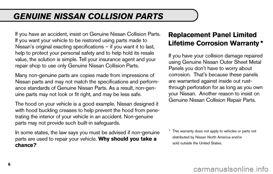 NISSAN SENTRA 2010 B17 / 7.G Service And Maintenance Guide, Page 8
