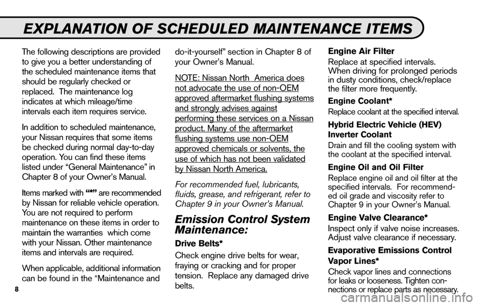 NISSAN SENTRA 2010 B17 / 7.G Service And Maintenance Guide, Page 10