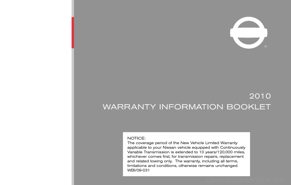 NISSAN SENTRA 2010 B17 / 7.G Warranty Booklet, Page 1
