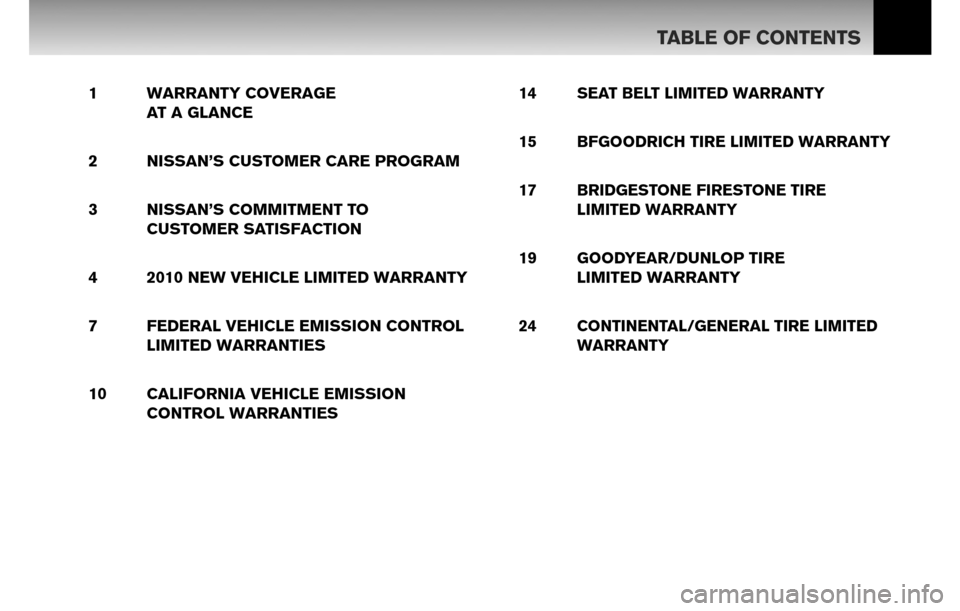 NISSAN SENTRA 2010 B17 / 7.G Warranty Booklet, Page 2