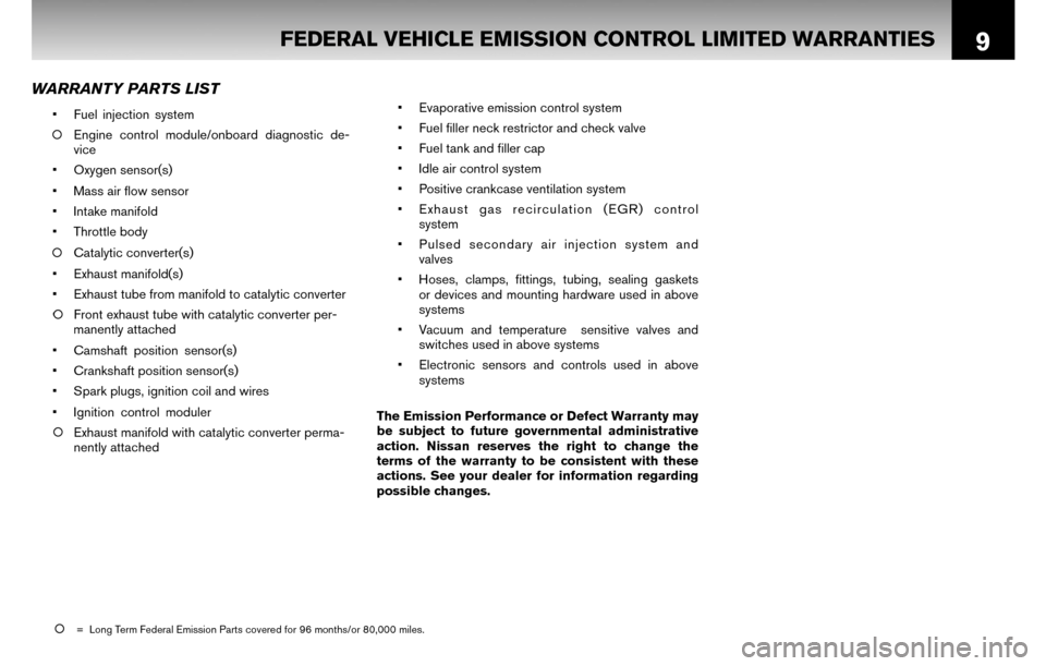 NISSAN CUBE 2010 3.G Warranty Booklet, Page 12