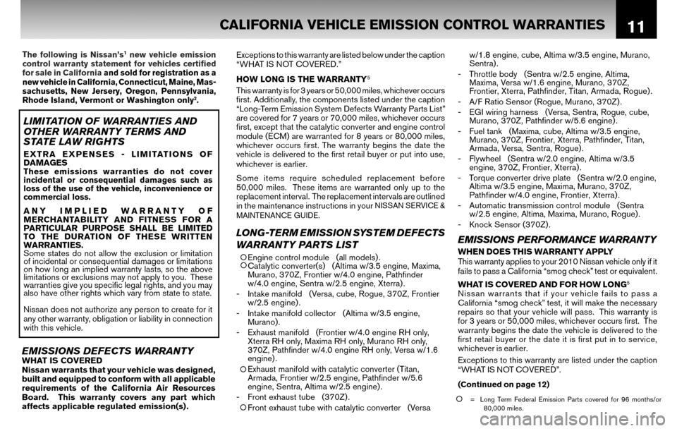 NISSAN CUBE 2010 3.G Warranty Booklet, Page 14