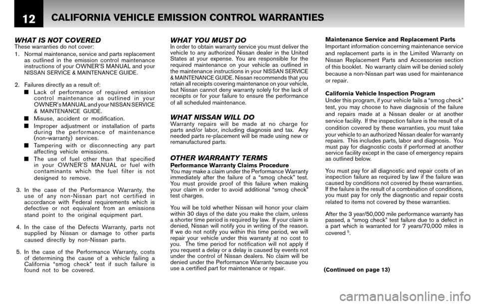 NISSAN CUBE 2010 3.G Warranty Booklet, Page 15