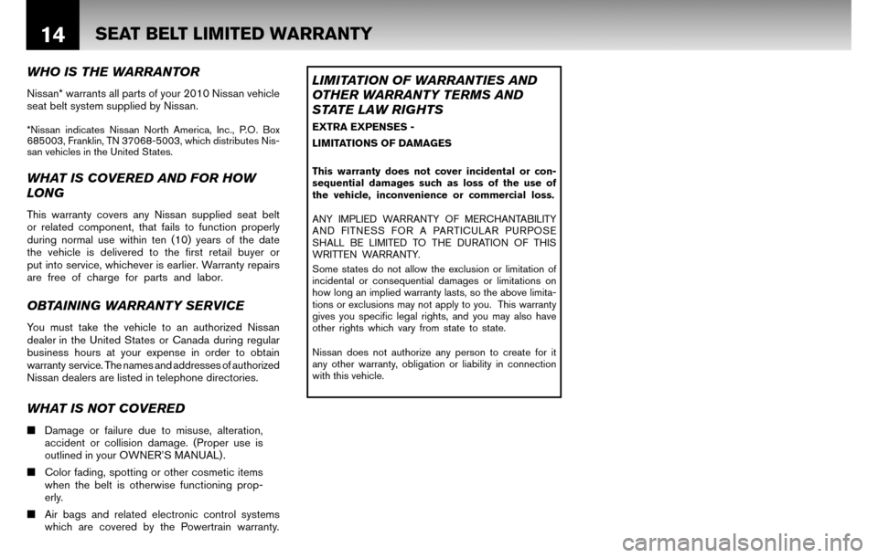 NISSAN CUBE 2010 3.G Warranty Booklet, Page 17