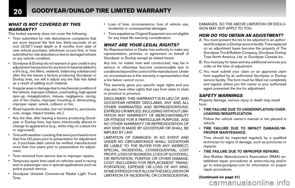 NISSAN ALTIMA COUPE 2010 D32 / 4.G Warranty Booklet, Page 23
