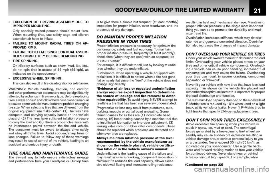 NISSAN ALTIMA COUPE 2010 D32 / 4.G Warranty Booklet, Page 24