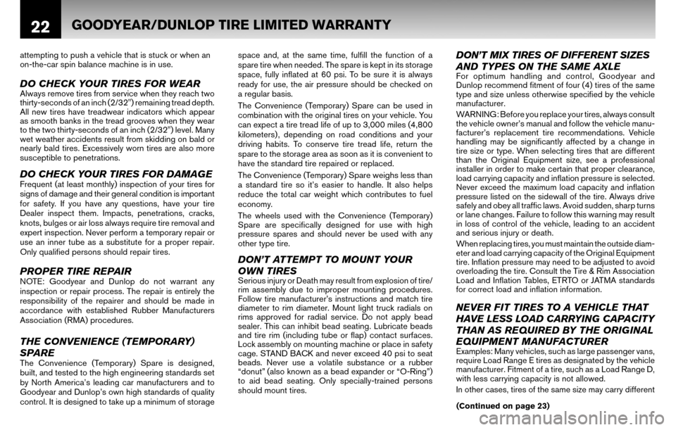 NISSAN ALTIMA COUPE 2010 D32 / 4.G Warranty Booklet, Page 25
