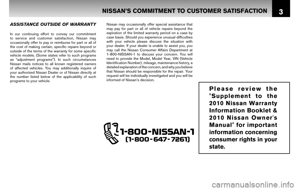 NISSAN SENTRA 2010 B17 / 7.G Warranty Booklet, Page 6