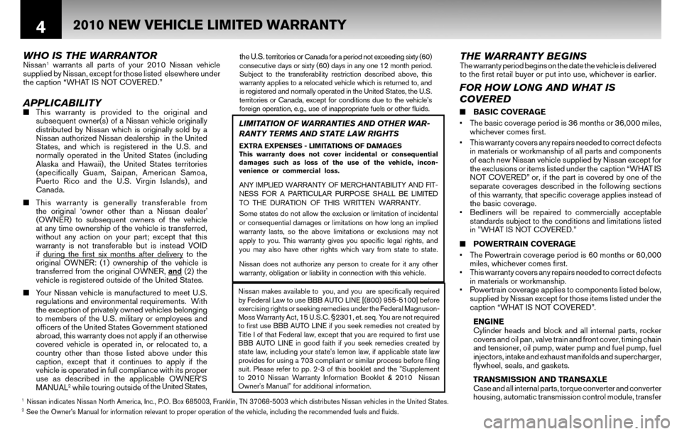 NISSAN SENTRA 2010 B17 / 7.G Warranty Booklet, Page 7