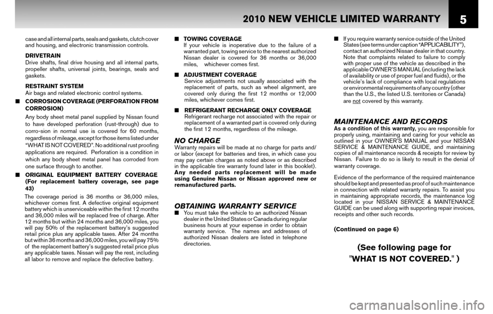 NISSAN SENTRA 2010 B17 / 7.G Warranty Booklet, Page 8