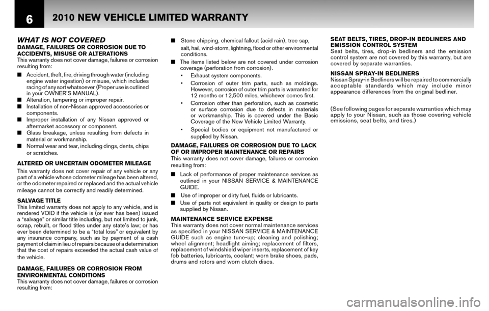 NISSAN SENTRA 2010 B17 / 7.G Warranty Booklet, Page 9