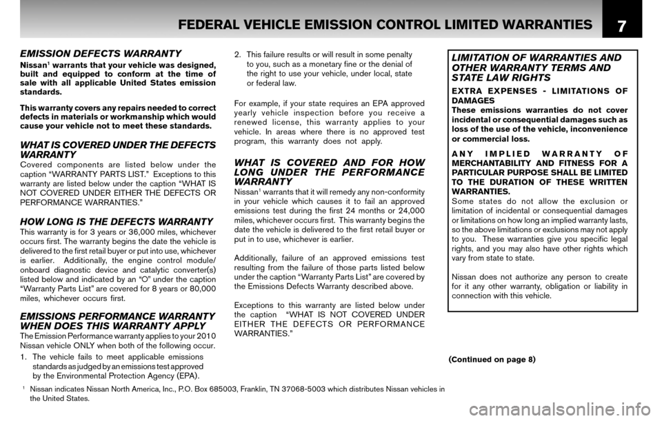 NISSAN SENTRA 2010 B17 / 7.G Warranty Booklet, Page 10