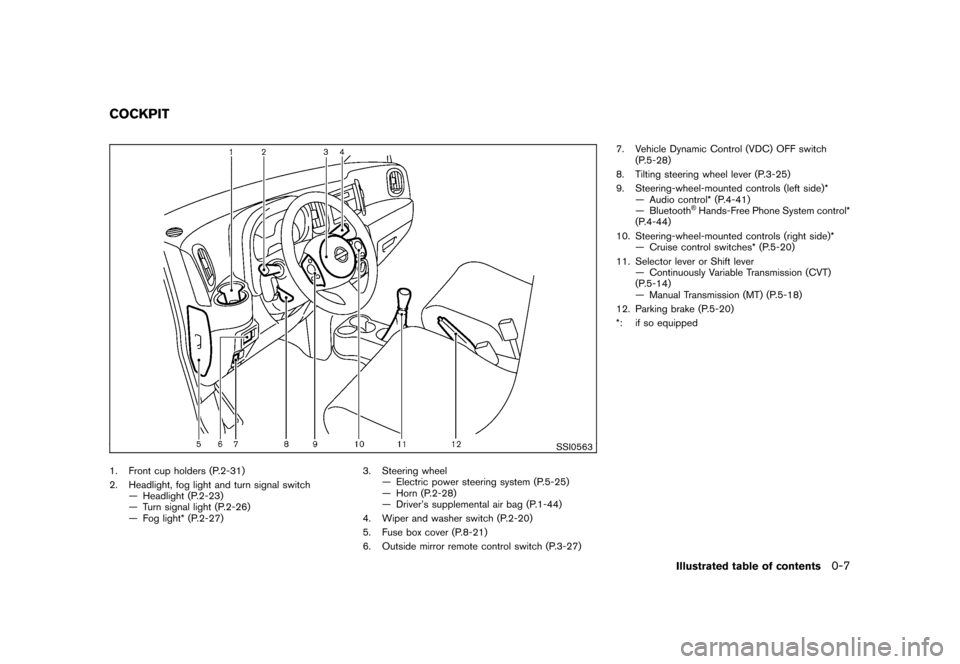 NISSAN CUBE 2010 3.G Owners Manual, Page 13