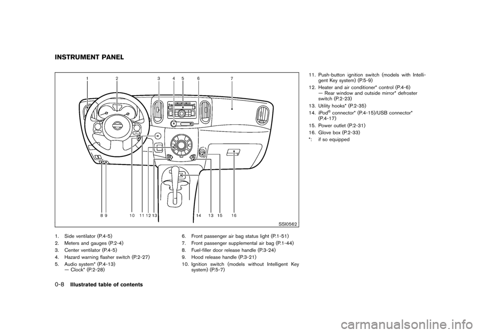 NISSAN CUBE 2010 3.G Owners Manual, Page 14