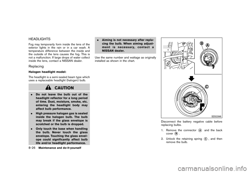 NISSAN CUBE 2010 3.G Owners Manual, Page 284