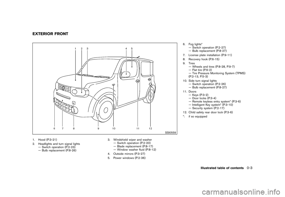 NISSAN CUBE 2010 3.G Owners Manual, Page 9