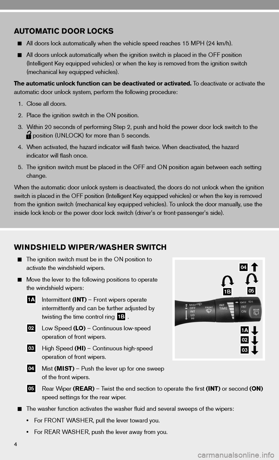 NISSAN CUBE 2010 3.G Quick Reference Guide, Page 6