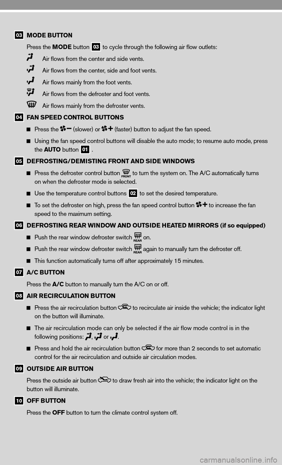 NISSAN CUBE 2010 3.G Quick Reference Guide, Page 9