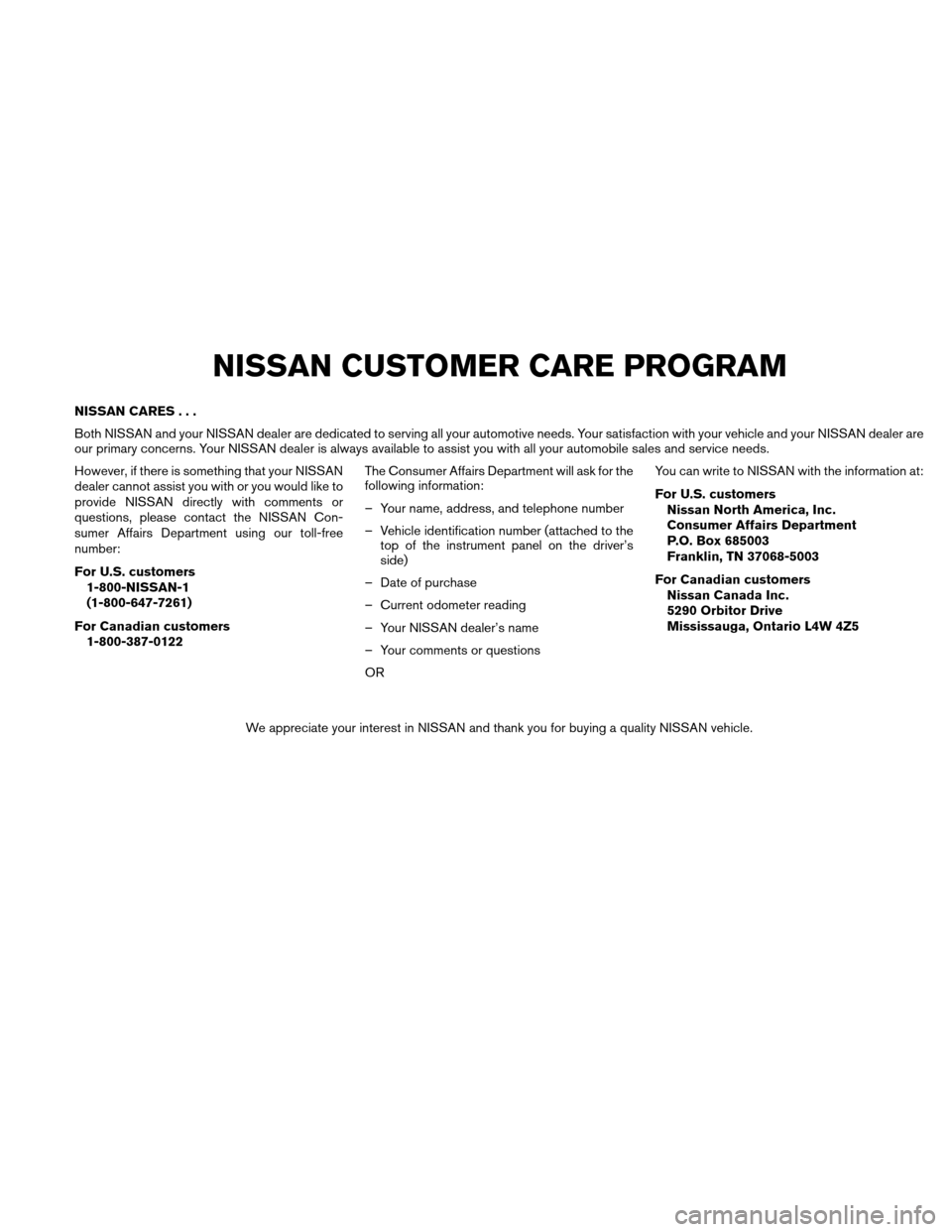 NISSAN VERSA HATCHBACK 2010 1.G Owners Manual, Page 5