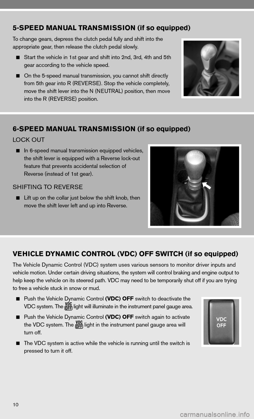 NISSAN VERSA HATCHBACK 2010 1.G Quick Reference Guide, Page 12