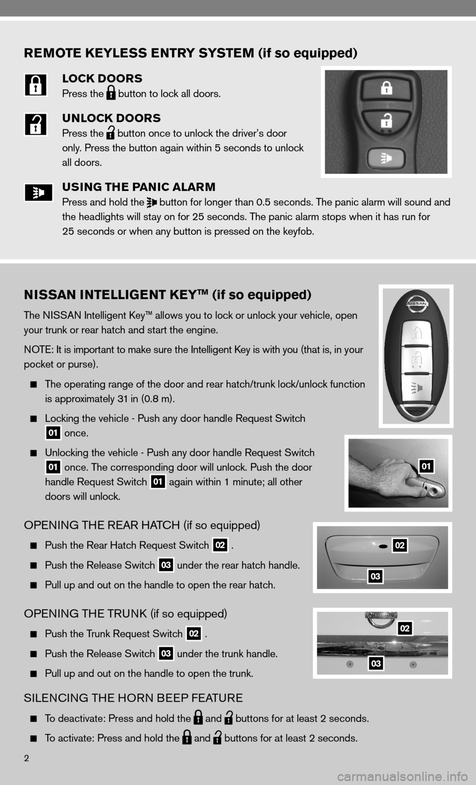 NISSAN VERSA HATCHBACK 2010 1.G Quick Reference Guide, Page 4