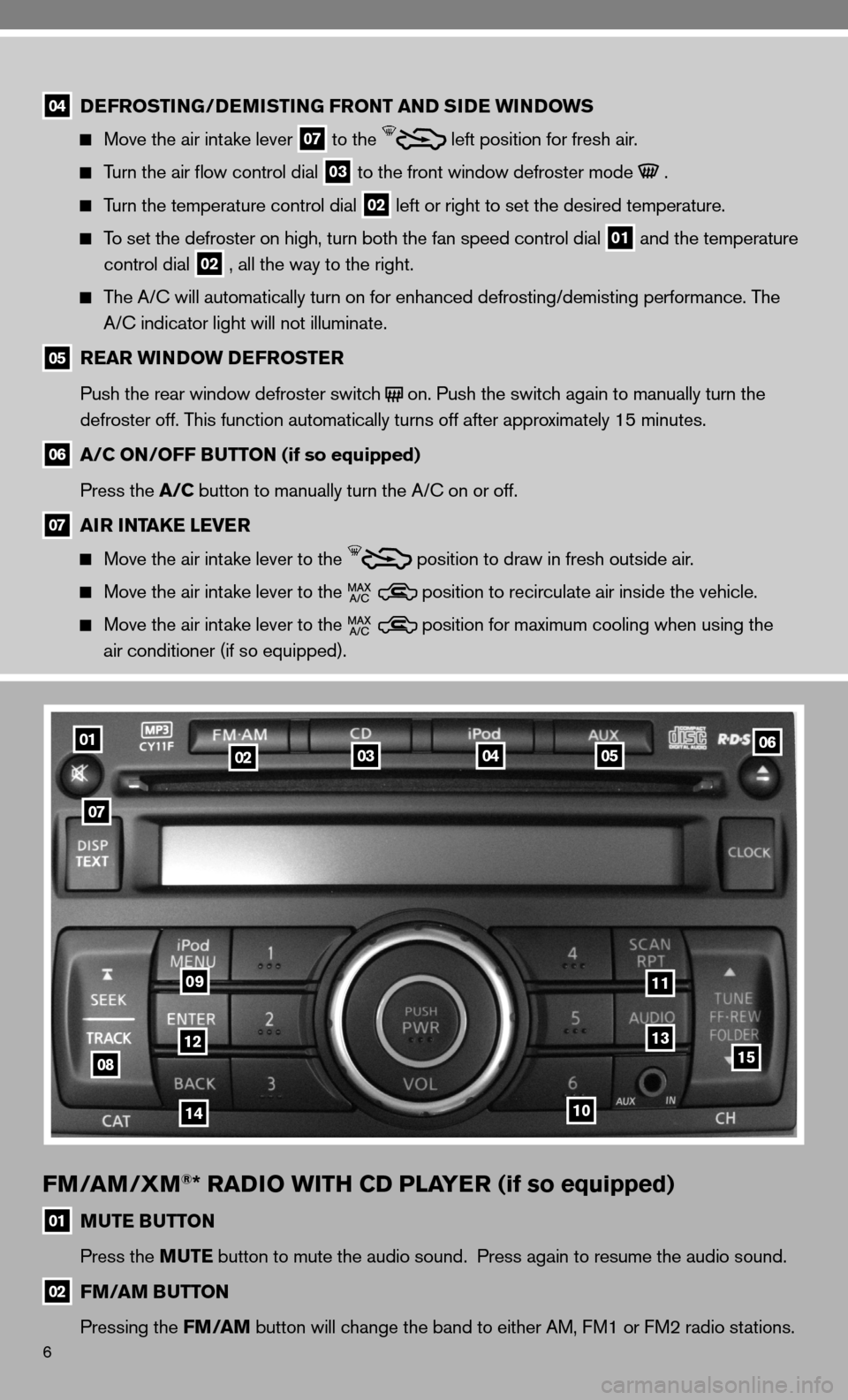 NISSAN VERSA HATCHBACK 2010 1.G Quick Reference Guide, Page 8