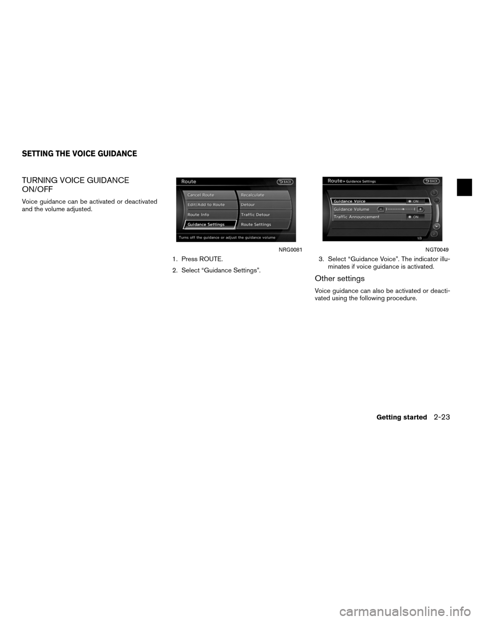 NISSAN ALTIMA COUPE 2011 D32 / 4.G Navigation Manual, Page 31