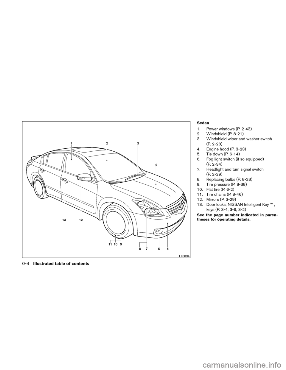 NISSAN ALTIMA COUPE 2011 D32 / 4.G Owners Manual, Page 11