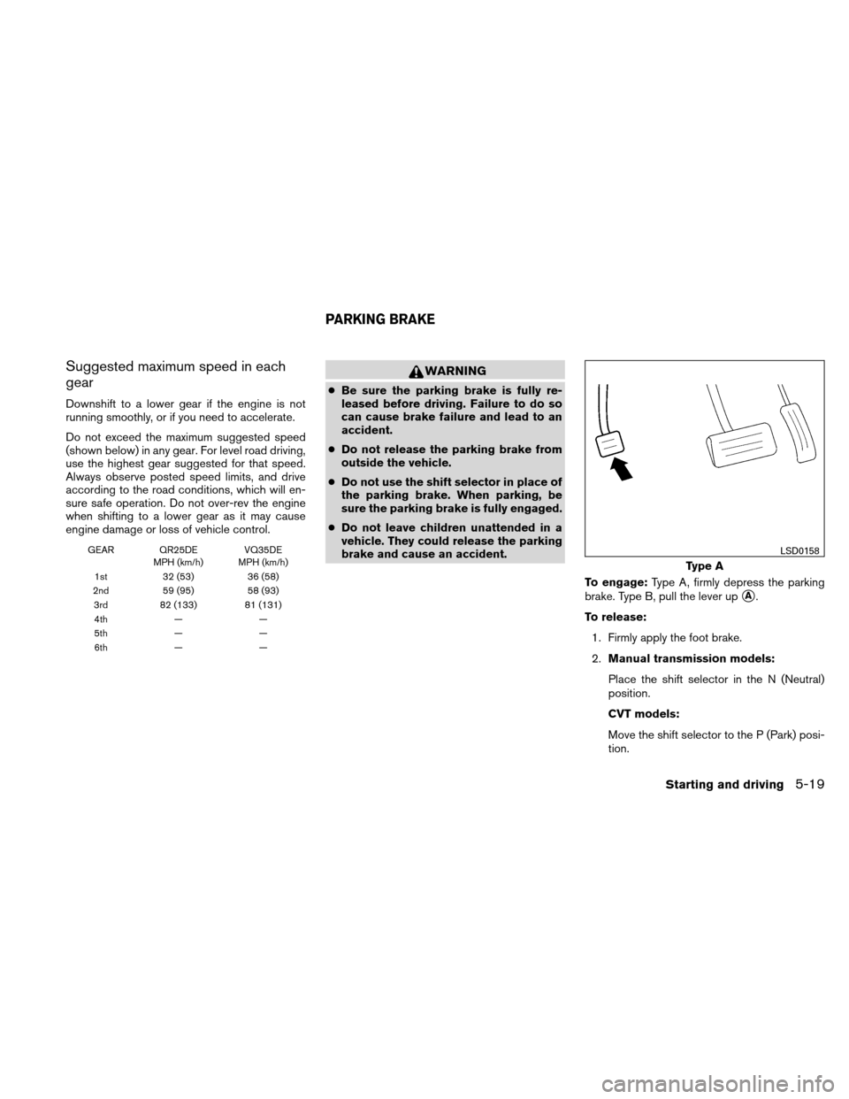 NISSAN ALTIMA COUPE 2011 D32 / 4.G Owners Manual, Page 326