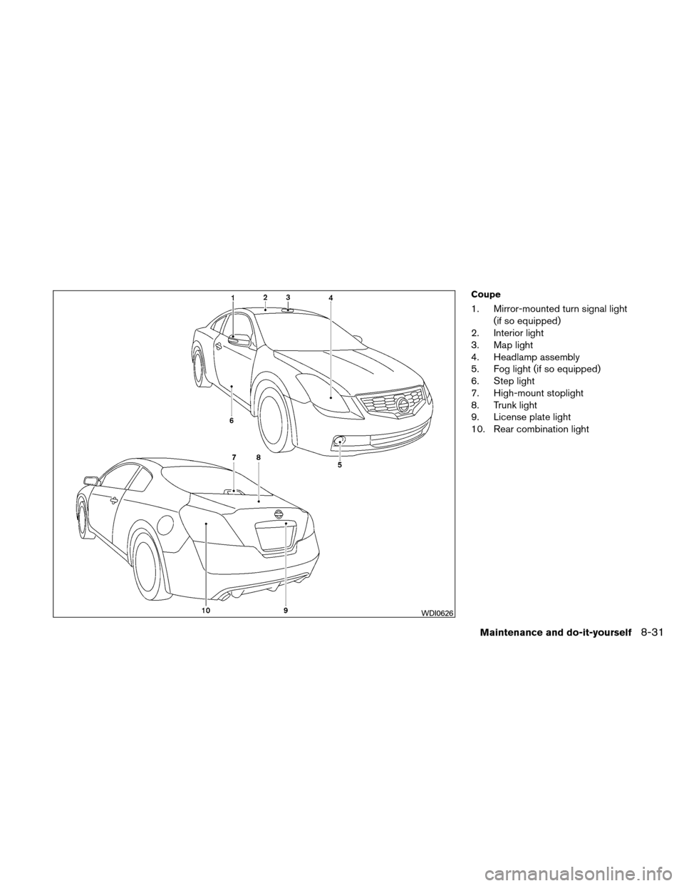NISSAN ALTIMA COUPE 2011 D32 / 4.G Owners Manual, Page 390