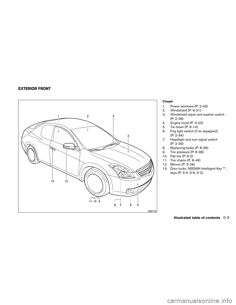 NISSAN ALTIMA COUPE 2011 D32 / 4.G Owners Manual, Page 10