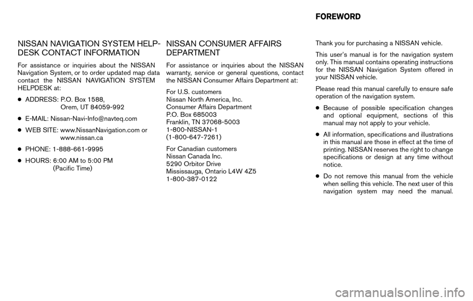 NISSAN ALTIMA HYBRID 2011 L32A / 4.G Navigation Manual, Page 2