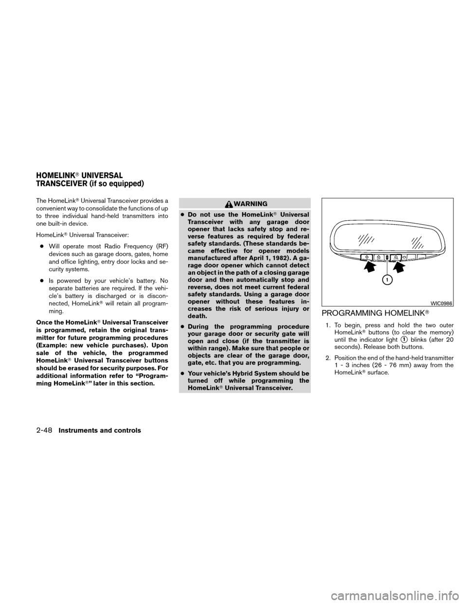 NISSAN ALTIMA HYBRID 2011 L32A / 4.G Owners Manual, Page 129