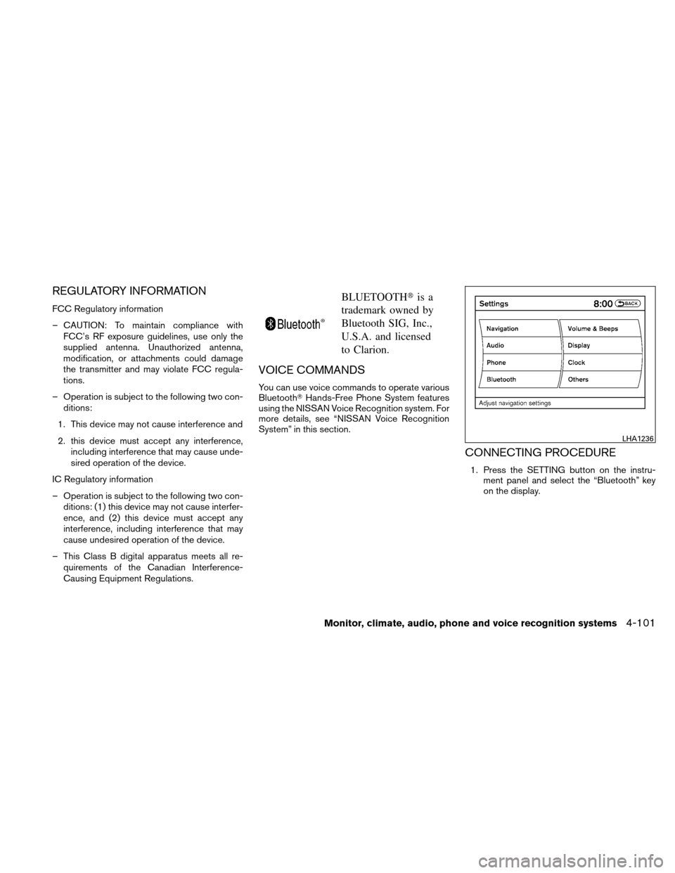 NISSAN ALTIMA HYBRID 2011 L32A / 4.G Owners Manual, Page 262