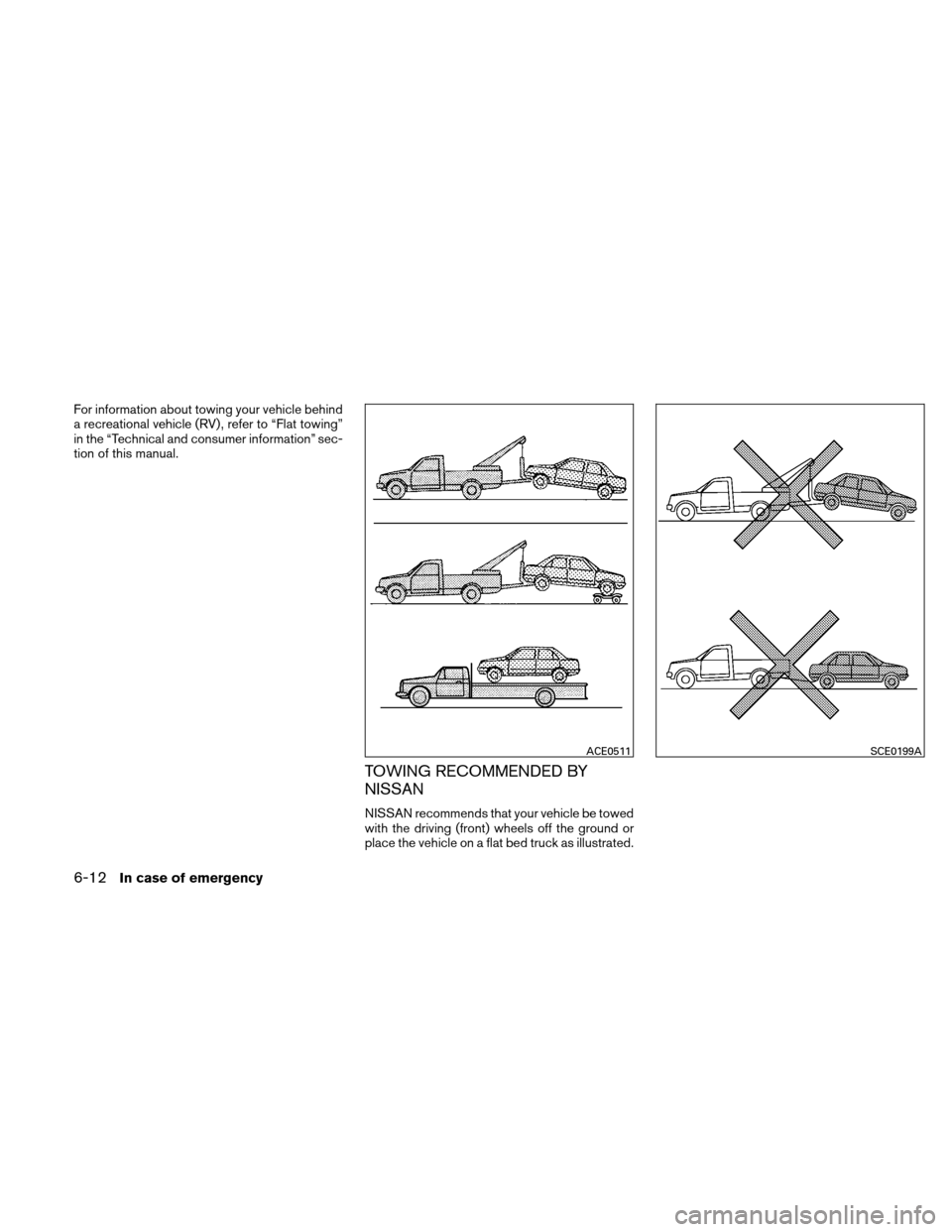 "NISSAN ALTIMA HYBRID 2011 L32A / 4.G Owners Manual For information about towing your vehicle behind a recreational vehicle (RV) , refer to ""Flat towing"" in the ""Technical and consumer information"" sec- tion of this manual. TOWING RECOMMENDED B"
