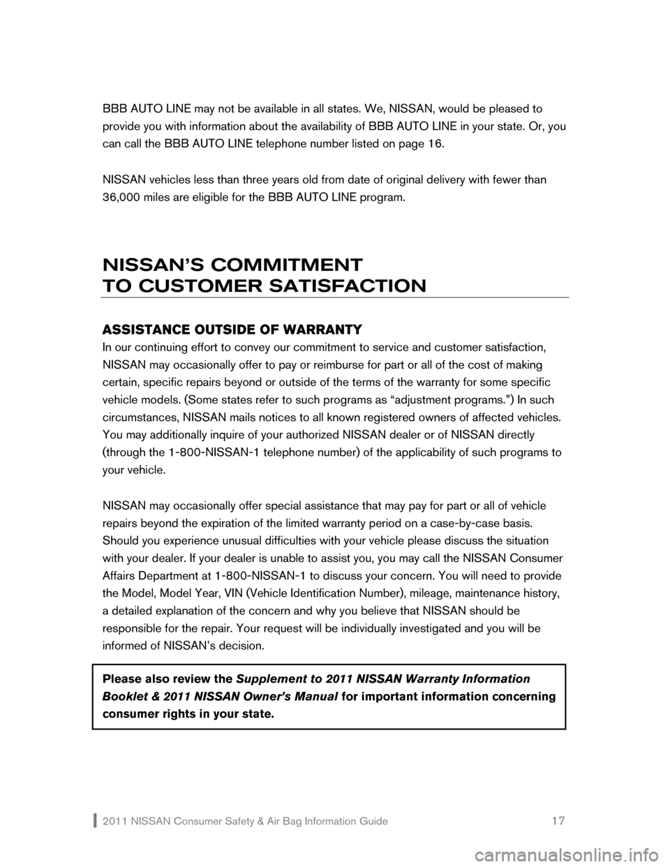 NISSAN ROGUE 2011 1.G Consumer Safety Air Bag Information Guide, Page 18