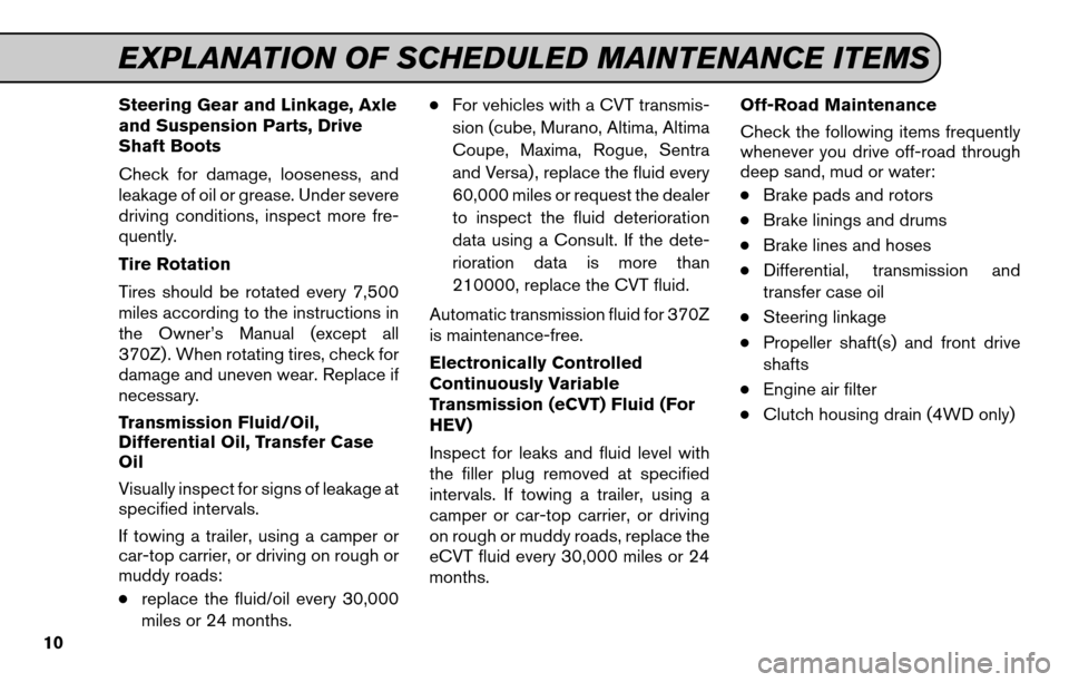 NISSAN VERSA HATCHBACK 2011 1.G Service And Maintenance Guide, Page 12