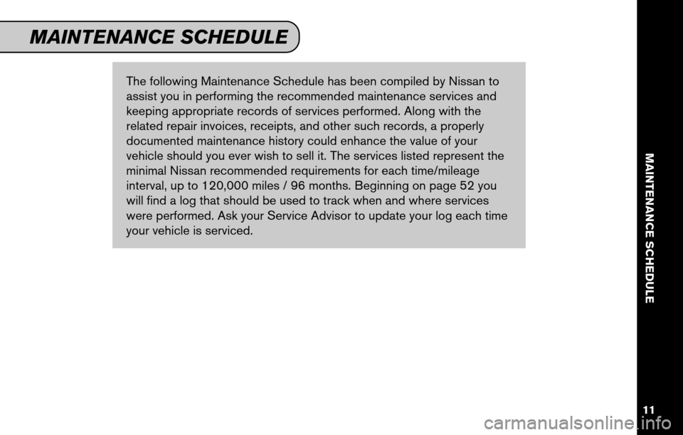 NISSAN VERSA HATCHBACK 2011 1.G Service And Maintenance Guide, Page 13
