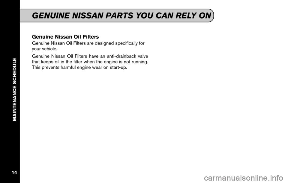 NISSAN VERSA HATCHBACK 2011 1.G Service And Maintenance Guide, Page 16