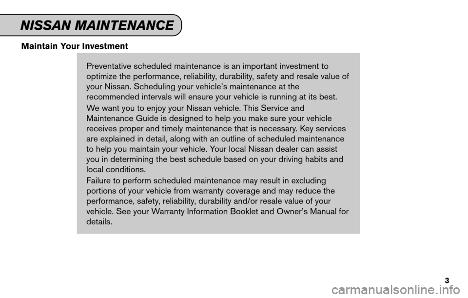 NISSAN SENTRA 2011 B16 / 6.G Service And Maintenance Guide, Page 5