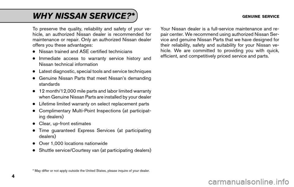 NISSAN SENTRA 2011 B16 / 6.G Service And Maintenance Guide, Page 6
