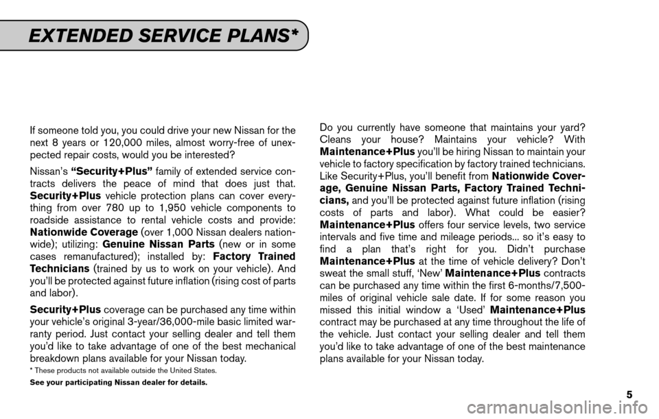 NISSAN SENTRA 2011 B16 / 6.G Service And Maintenance Guide, Page 7