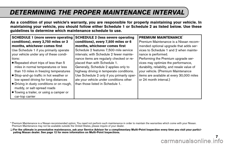 NISSAN SENTRA 2011 B16 / 6.G Service And Maintenance Guide, Page 9