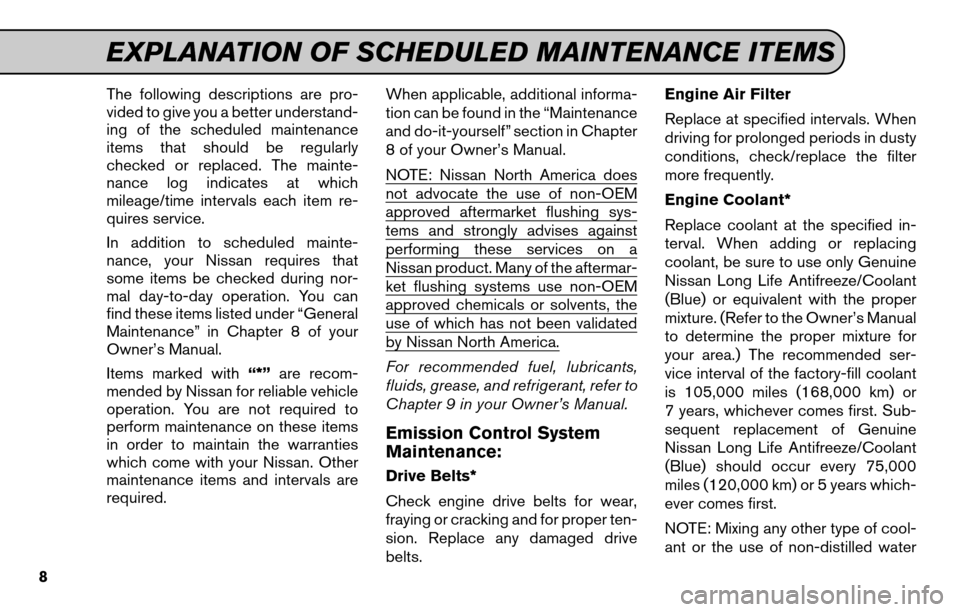 NISSAN SENTRA 2011 B16 / 6.G Service And Maintenance Guide, Page 10