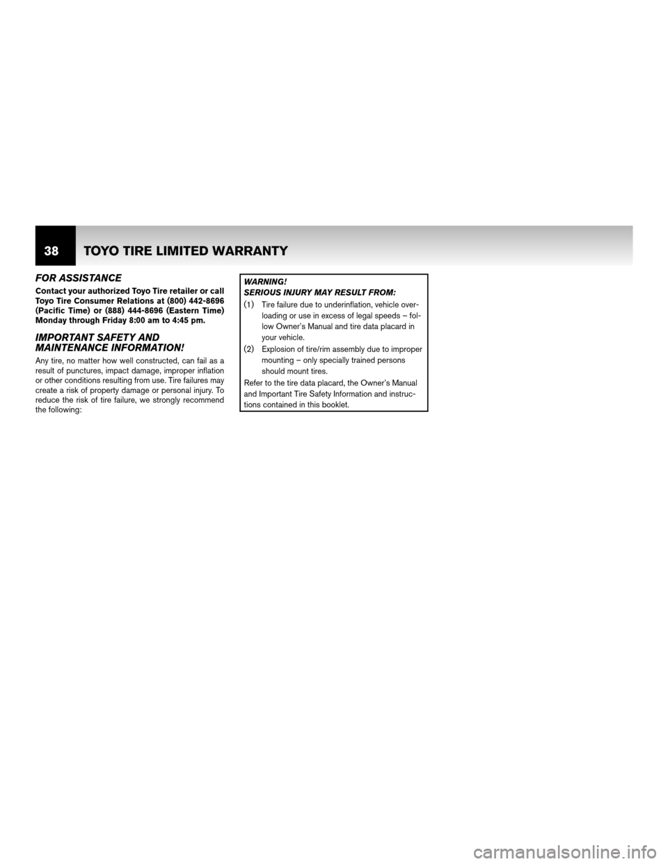 NISSAN ROGUE 2011 1.G Warranty Booklet, Page 41