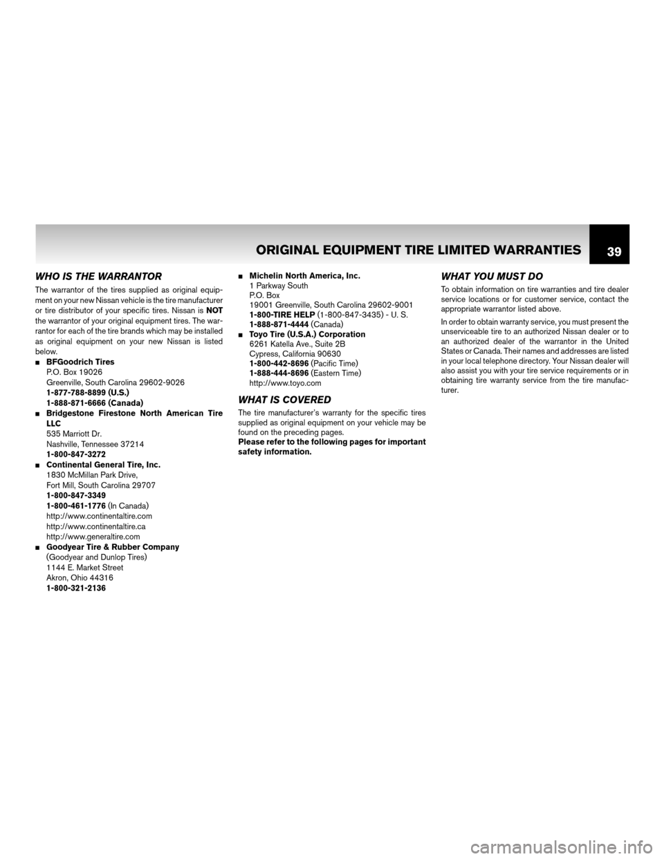 NISSAN ROGUE 2011 1.G Warranty Booklet, Page 42