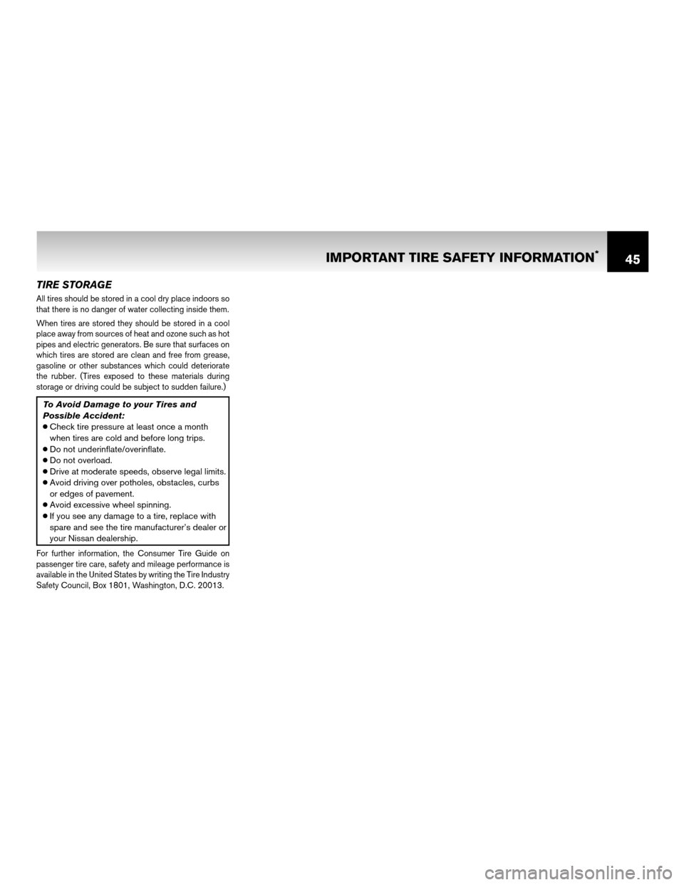 NISSAN ROGUE 2011 1.G Warranty Booklet, Page 48